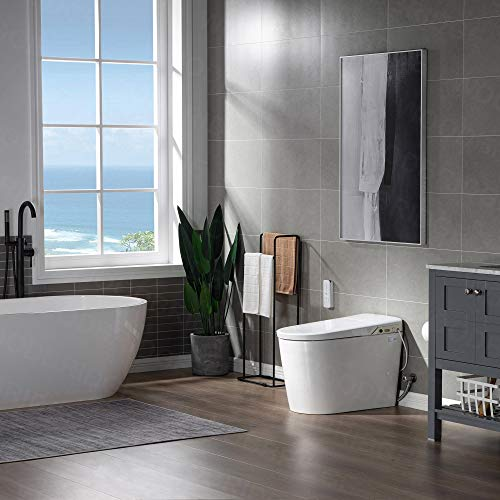 WOODBRIDGE B0980S Intelligent Smart Toilet, Massage Washing, Open & Close, Auto Flush,Heated Integrated Multi Function Remote Control, with Advance Bidet and Soft Closing Seat, White