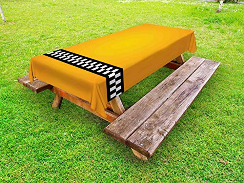Ambesonne Yellow Outdoor Tablecloth, Taxi Cab Car Yellow with The Line of Checkers Classical Print, Decorative Washable Picnic Table Cloth, 58' X 104', Orange White