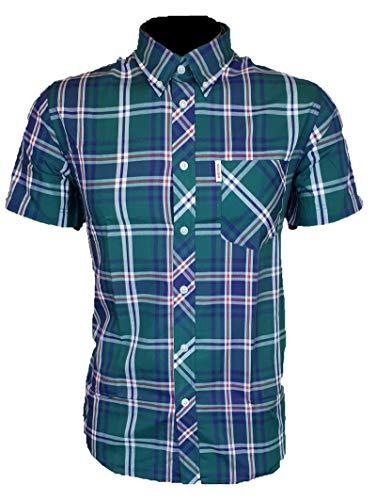 Brutus Herren Shirts MOD kariert Pocket T-Shirt UK S-2XL Gr. UK XL, Grün / Marineblau / Kariert