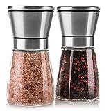 Molinillo de Sal y Pimienta, 2 Molino Manuales de Acero Inoxidable con Moledores Ajustable de Cerámica y Cuerpo de cristal