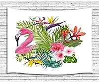 FJTPの壁のタペストリー熱帯植物の動物の水彩画のフラミンゴと植物の葉 夏のおしゃれなタペストリー壁掛け大学の寮の家の装飾