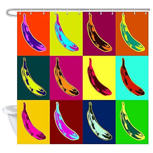 Bananen-Duschvorhang, Pop-Art-Stil, Bananenmuster auf bunter psychedelischem Hintergr&, Polyestergewebe, Badvorhänge mit Haken