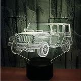 Cool Jeep Car Shape 3D Led Usb Night Light, lámpara de mesa de ilusión junto a...