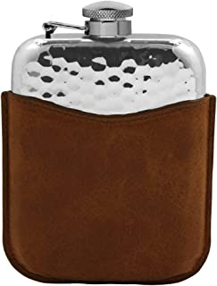 English Pewter Company 6oz Hammered Pewter Hip Flask With Captive Top and Luxury Brown Leather Pouch [PLF04]