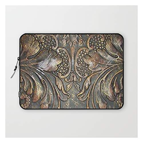 Golden Brown Carved Tooled Leather by The Ghost Town on Laptop Sleeve - Laptop Sleeve - 13'