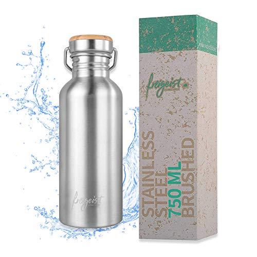 freigeist Edelstahl Trinkflasche 750ml einwandig | Outdoor Edelstahl Wasserflasche Kohlensäure geeignet für Camping, Sport, Büro (matt)