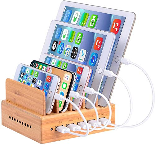 Photo of OthoKing Charging Station Bamboo with 5 Port Fast USB Phone Charging Stations with Multiport for Multiple Devices Tabletop Phone Watch (with 5 Pack Cables) (Bamboo)