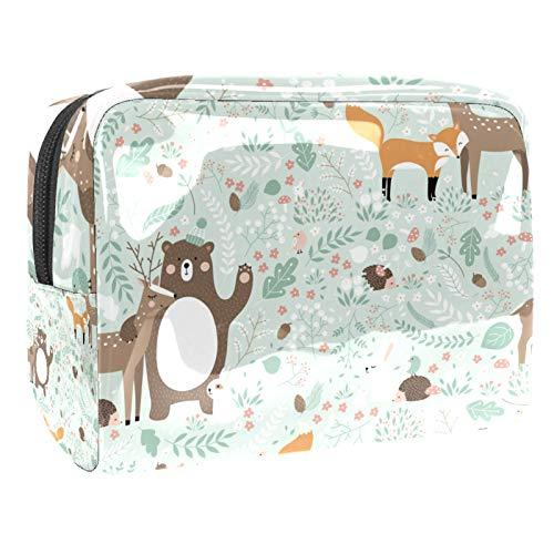 Trousse de Maquillage Voyage Maquillage Case Cosmetic Case Professional Portable Forest Animal Deer Fox Bear Lapbit Organisateur et Rangement pour Porte-pinceaux de Maquillage