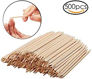 Rocutus 500pcs Nail Art Wood Sticks Cleaning Nail Polish Cuticle Pusher Remover Manicure Tools for Women (500 Pieces)
