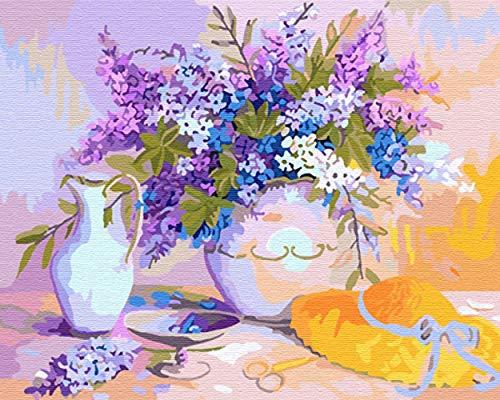 DMLGQ DIY-DA-TE Digitale schilderset, olieverfschilderijen, thuisdecoratie, schilderij om te vullen op canvas, 40 x 50 cm, strohoed voor bloempotten Incorniciato