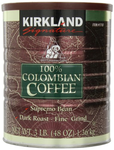 Signature wsa Colombian Coffee, Supremo Bean Dark Roast-Fine Grind, 3 Pound, 2 Pack