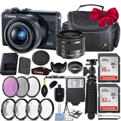 Canon EOS M100 24.2MP Mirrorless Digital Camera (Black) + EF-M 15-45mm f/3.5-6.3 is STM Lens (Graphite) + 48GB Memory + Filters & Macros + Spider Tripod + Slave Flash + Professional Accessory Kit