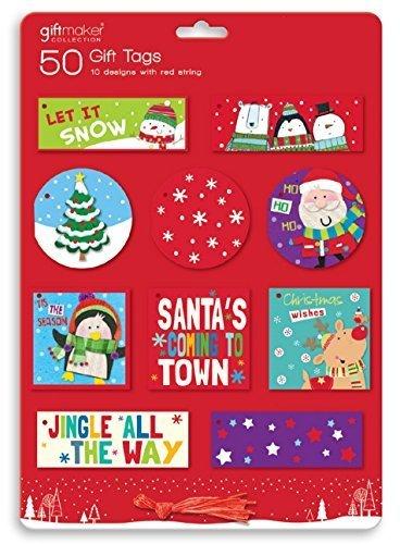 50 x Mignon Cadeau de Noël étiquettes Bonhomme de neige Père Noël Rouge-gorge RUDOLPHE à nouer étiquettes