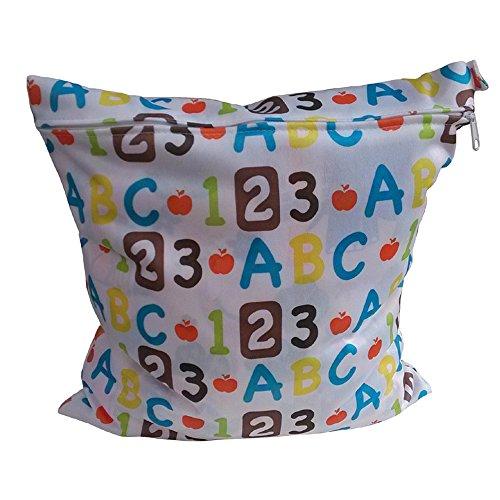 XFentech Wiederverwendbar Waschbar Wickeltasche mit Reißverschluss Baby Tuch Wasserdichte Wickeltasche (ABC)