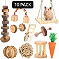 XIAO MO GU Hamster Chew Toys, Guinea Pig Toys Natural Wooden Gerbil Rats Chinchillas Toys Accessories Dumbells Exercise Bell Roller Teeth Care Molar Toy for Birds Bunny Rabbits Gerbils from XIAO MO GU