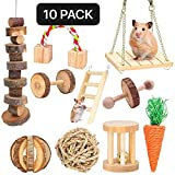 XIAO MO GU Hamster Chew Toys, Guinea Pig Toys Natural Wooden Gerbil Rats Chinchillas Toys Accessories Dumbells Exercise Bell Roller Teeth Care Molar Toy for Birds Bunny Rabbits Gerbils