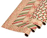 American Greetings Winter Wrapping Paper, Red, Green and Kraft (4 Pack, 80 sq. ft.)