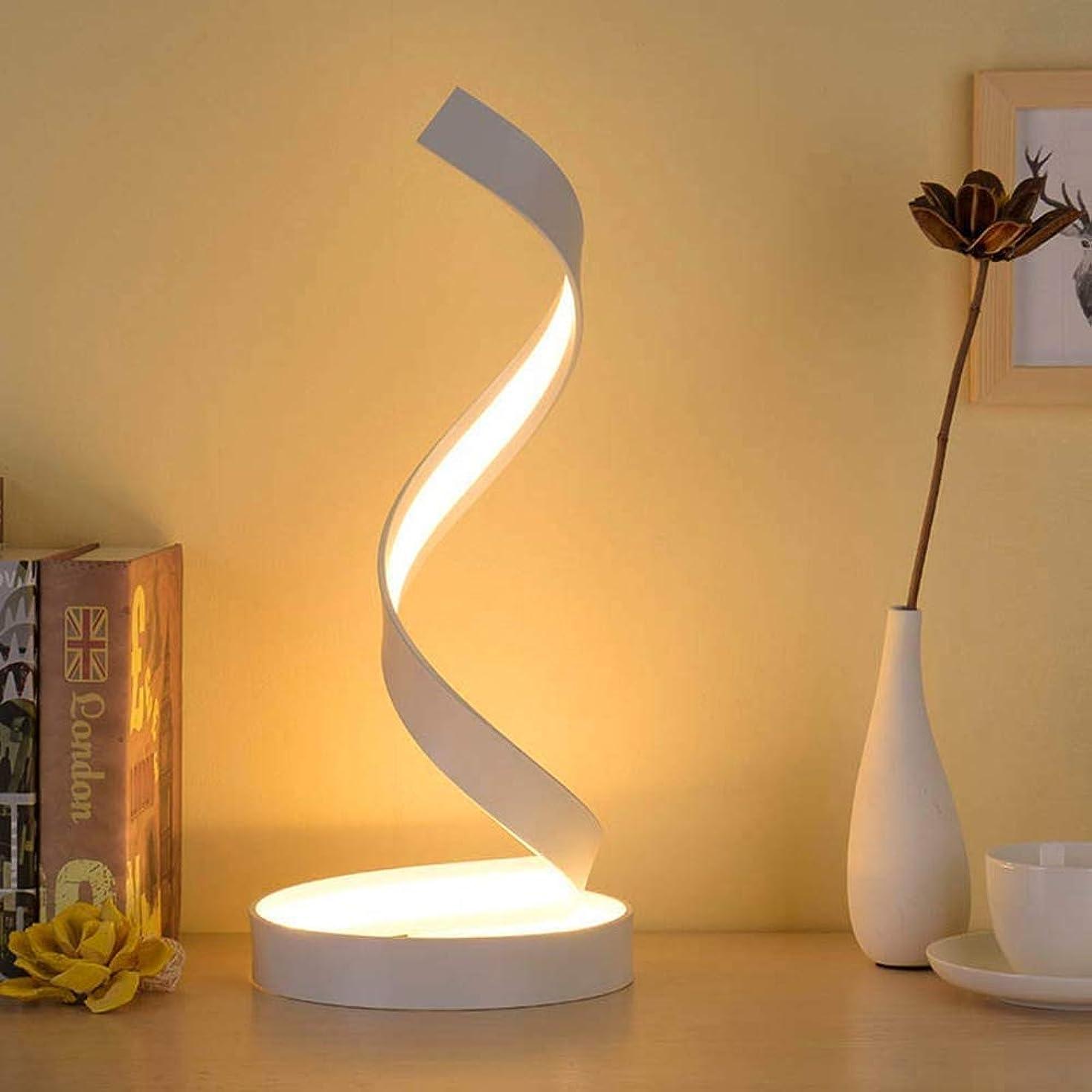 流行している効能ある入射18ワットledスパイラルテーブルランプ現代のファッション寝室のベッドサイドアルミ合金アクリルデスクライト48 * 19センチホワイト暖かいエレガント スタイリッシュで美しいです (色 : 白色光)