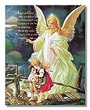 Guardian Angel of God Poem w/ Children Bridge Religious Wall Picture Art Print 8x10'