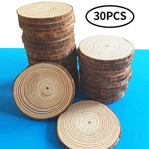 TQmate Rodajas de madera 30 pcs 6-7cm, discos de anillo anuales naturales sin terminar SIN agujero, rodajas de madera de pino pulida para pintar, creaciones hechas a mano y decoraciones navideñas