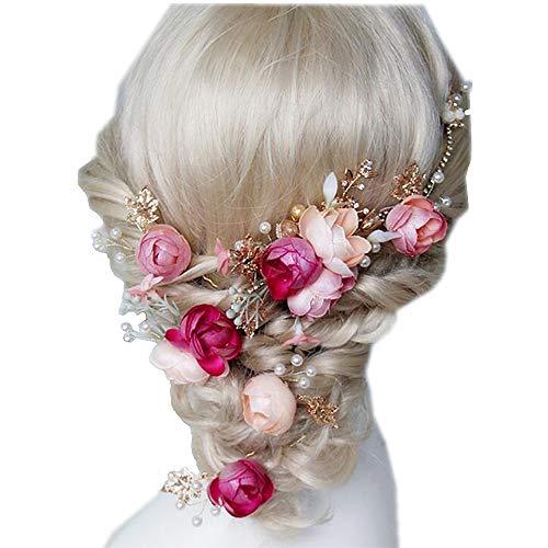 the love Hochzeitskopfschmuck oder Brautaccessoires, Seidenblumen Kopfbedeckung Zubehör für Hochzeit oder Party, mit Schleife, 5-Packed Set