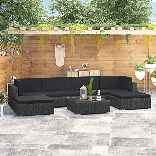 Festnight Juego de Muebles de jardín de 7 Piezas de Jardin Muebles de Patio al Aire Libre, 4 Sofás + 2 Otomanas y Mesa de CentroTerraza, Piscina, Porche, Jardín, Balcón, Negro