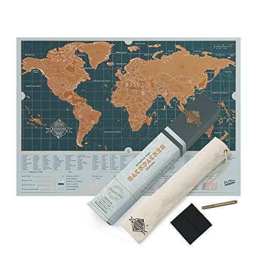 Mappa da grattare Deluxe Travel Edition – Poster con mappamondo personalizzato, formato da viaggio Backpacker Edition
