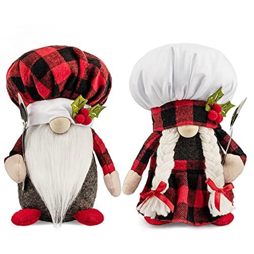D-FantiX Christmas Gnomes Plush, 2 Pack Handmade Chef Tomte Swedish Gnome Scandinavian Figurine Nordic Gnomes Plush Christmas Elf Doll Christmas Decoraction Ornaments for Home Table Kitchen Decor Gift