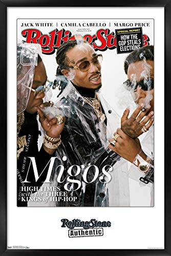 Trends International Rolling Stone Magazine - Migos 18 Wall Poster, 14.725' x 22.375', Black Framed Version