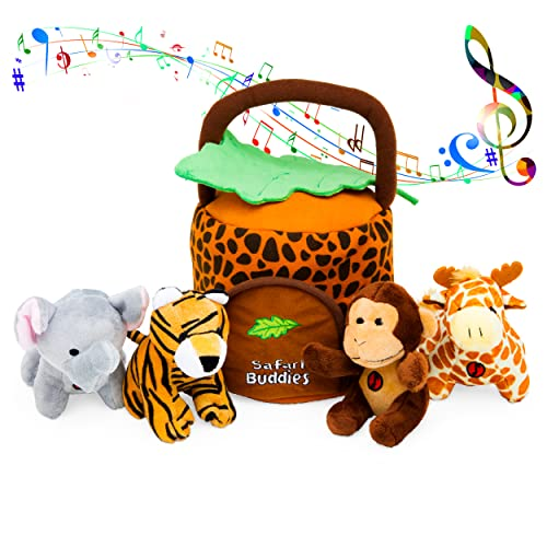 Product Image of the KLEEGER Plush Talking Jungle Animals Toy Set (5 Pcs - Plays Sounds) with Carrier...
