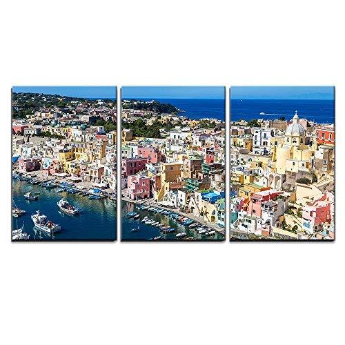 wall26 - Procida Island Summer in Italy - Canvas Art Wall Decor-16 x24 x3 Panels