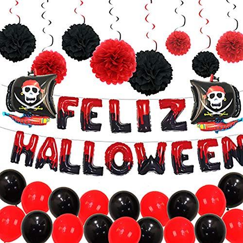 Halloween Decoraties Halloween Aluminiumfolie Ballonnen Horror Piratenschip Spiraal Hangende Papieren Bloembollen Halloween Feestdecoratie Ballonnen Rood Zwart