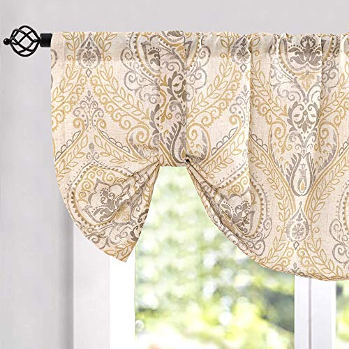 """jinchan Tie Up Valance for Living Room Damask Printed Paisley Curtains Rod Pocket Drapes Multicolor Medallion Flax Window Curtain 1 Panel 50"""" W x 20"""" L Yellow"""
