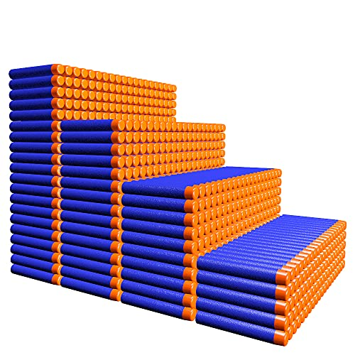 AMOSTING Balas para Nerf 1000Pzs 7,2 cm Dardos de Goma Espuma Suave Balas de Recarga Balas de Espuma Niño para la Serie N-Elite Fortnite Modulus Zombie Strike Blasters - Azul