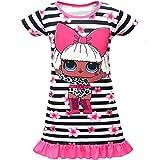 Dgfstm Kinder Mädchen Prinzessin Kleid Geburtstag Party Streifen Schmetterling Print Abendrock Nachthemd Nachthemd Gr. 6-7 Jahre, stil 4