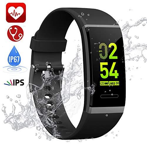 TwobeFit Pulsera Actividad, Pulsera Inteligente Pantalla Color HR con Pulsómetro Pulsera Deportiva y Monitor de Sueño de Actividad para Mujer Hombre Impermeable IP67 Reloj Fitness Podómetro