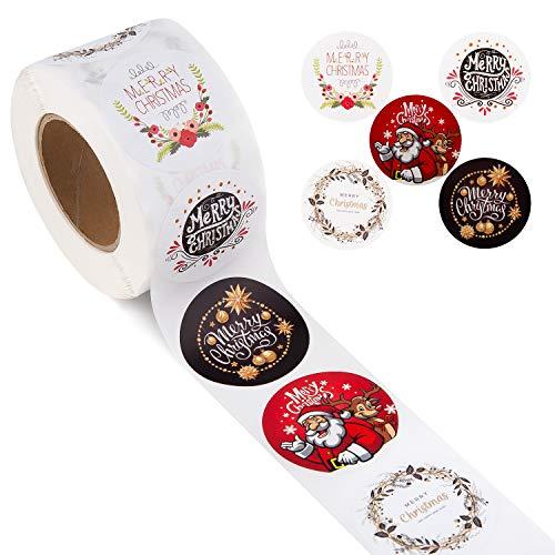 SAVITA 500 pièces 3.8cm Etiquette Autocollantes Noel, Autocollants d'enveloppe Présente des Autocollants Décoratifs Décoration de fête étiquettes de Noël (5 Modèles)