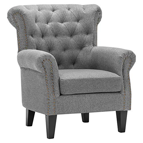 WarmieHomy Occasional Linen Fabric Wing Back Armchair with Solid Wood Legs for Living Room Sitting Room Contemporary (Grey)