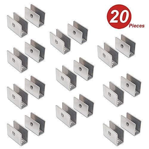 NUZAMAS - Juego de 20 soportes para estante de cristal – 201 soportes de acero inoxidable con abrazadera de vidrio, abrazadera redonda ajustable de 8 – 12 mm de grosor, tamaño 26,5 x 36,5 x 16,5 mm