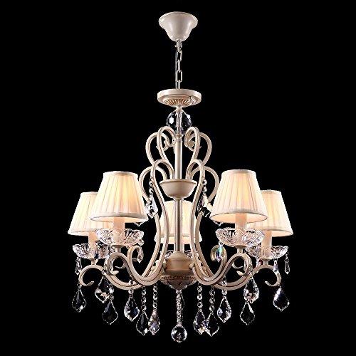 Wundervoller klassischer Kronleuchter, Creme goldene Farbe des Metalls, weiße Lampen-Schirme aus plissiertem Satin, echte Kristall-Behänge, 05-flammig, höhenverstellbar, exkl. E14 40W, 220V-240V