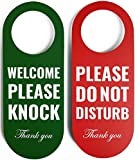 Do Not Disturb Door Hanger Sign 2 Pack (Green/Red Double Sided) Please Do Not Disturb on Front and Welcome Please Knock on Back Side, Ideal for Office Home Clinic Dorm Online Class and Meeting Session