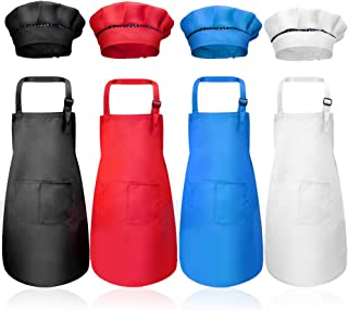 Hicdaw 8PCS Kids Aprons and Chef Hats Set, Kids Chef Hat Apron Set Waterproof and Adjustable Child Aprons with 2 Pockets Kitchen Bib Aprons for Boys and Girls Cooking Baking Painting(4 Color,Medium)