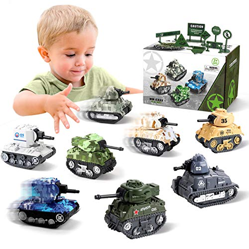 Pull Back Military Vehicles Tank Toys for Boys, 8 Pull Back Toy Army Tanks with 8 Military Road Sign, Small Diecast Tanks Military Toy Army Car Truck Toys Gift for Kids Age 3 4 5 6 Years Old
