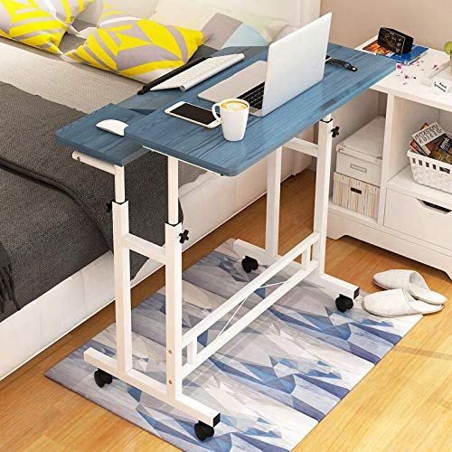 Jtoony Mesa de escritorio para ordenador portátil, altura ajustable, con rueda, mesita de noche móvil, para oficina en casa, (tamaño: 80 x 58 x 65 – 90 cm, color: azul)