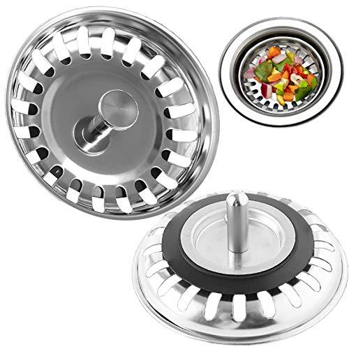 Goosky Abflusssieb, Edelstahl, Siebstopfen für Küche/Badezimmer, Durchmesser: 78 mm, 2 Stück