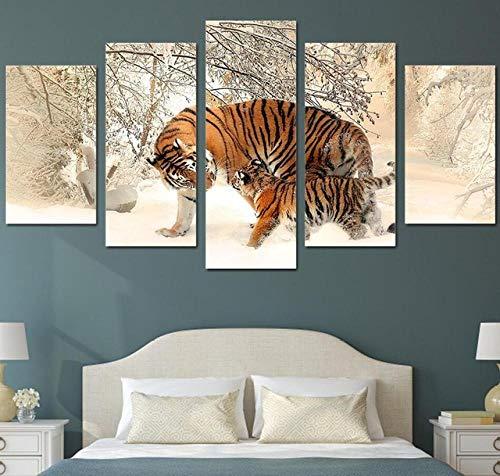Deryut Decoración De Pared Hogar Pintura De Lienzo 5 Piezas Tigre HD