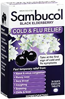 Sambucol Black Elderberry Cold & Flu Relief Tablets 30 Count, Homeopathic Remedy for Temporary Relief of Cold and Flu-Like...