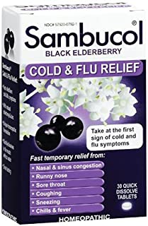 Sambucol Black Elderberry Cold & Flu Relief Tablets 30 Count, Homeopathic Remedy for Temporary Relief of Cold and Flu-Like Symptoms (2 Pack)