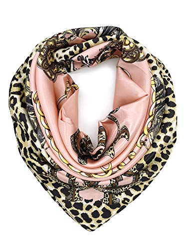 YOUR SMILE Silk Feeling Scarf Women's Fashion Pattern Pink Leopard Chain Large Square Satin Headscarf (318)