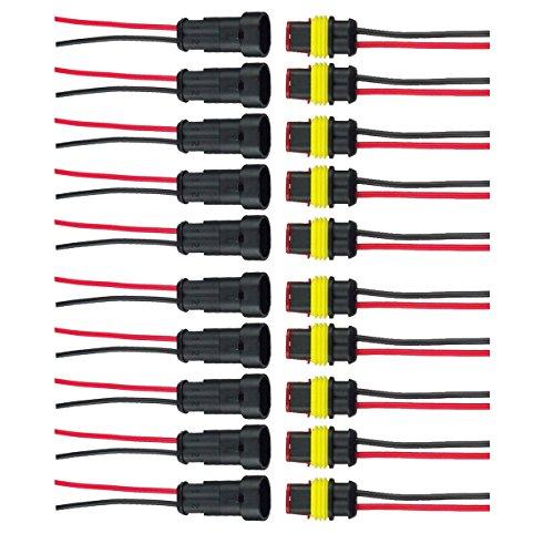HIFROM 10er-Set 2-polige Kfz-Steckverbinder mit Stecker und Buchse, wasserdicht, mit 20 cm langem Draht, AWG